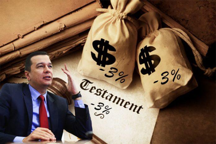 Moştenirile sau donaţiile peste o anumită limită vor fi impozitate de Guvern cu 3%