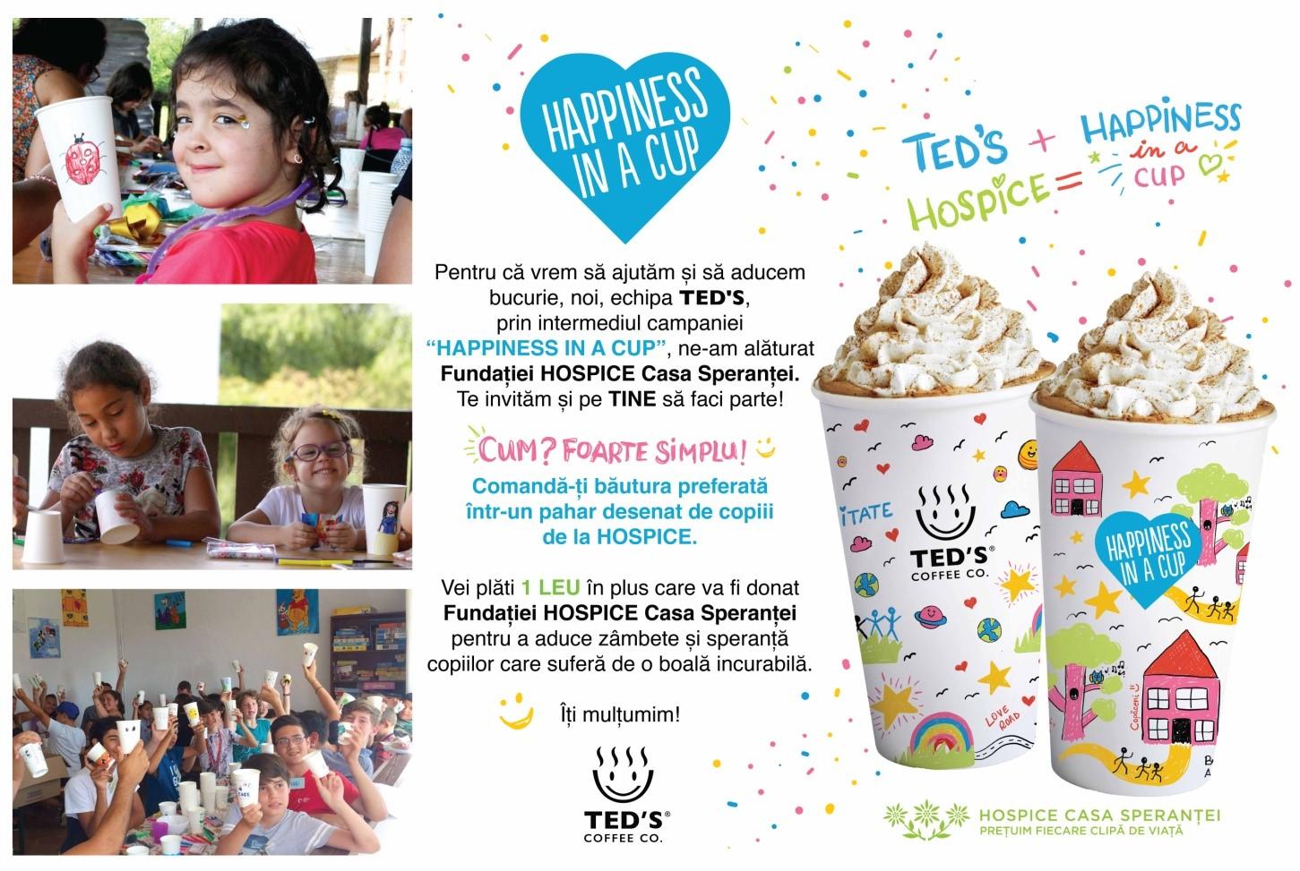 "Foto: Campania ""HAPPINES IN A CUP"" – Ted's și Fundația Hospice Casa Speranței"